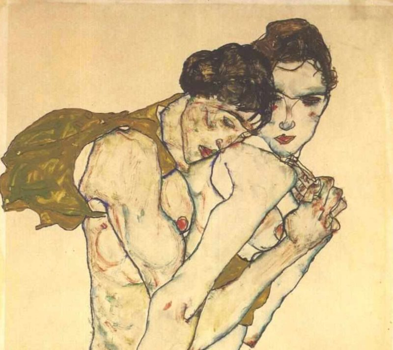 "Egon Schiele, ""Amizade"", óleo sobre tela, 1913"
